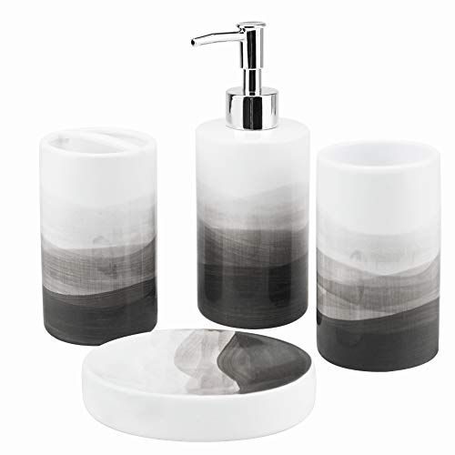 Rich Life 4 Piece Painted Ceramic Bathroom Accessory Set, Includes Soap Dispenser Pump, Toothbrush Holder, Tumbler, Soap Dish Sanitary, Ideas Home Gift for Ware Home Decor Bath(Gray)