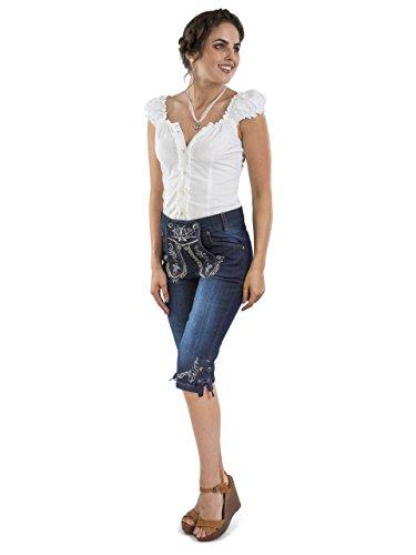 Damen Capri Trachtenjeans - Damen Lederhose Jeans Stretch - Schöneberger Lederhosen Oktoberfest Jeans (36)