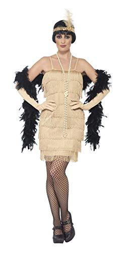 Smiffys-44678M Disfraz de años 20, Dorado, con Vestido Corto, Tocado y Guantes, Color Oro, M-EU Tamaño 40-42 (Smiffy