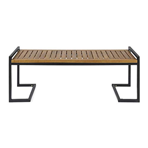 Christopher-Knight-Home-306426-Noel-Outdoor-Industrial-Acacia-Wood-and-Iron-Bench-Teak-FinishBlack-Metal