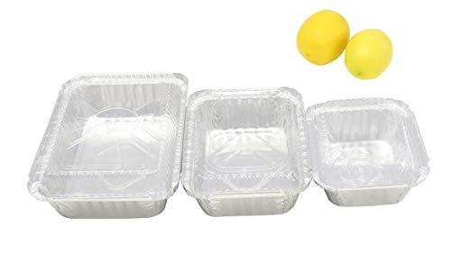 kitchendance Combo Pack Einweg Mahlzeit Prep/Take Out/Food Saver Pfannen. 1Pfund, 1–1/2Pfund & 2–1/4Pfund Größe jeweils 10Stück mit Wahl der Deckel 1 pound, 1-1/2 pound, & 2-1/4 pound silber