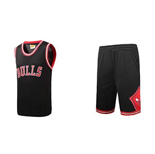 BCGG # 23 Trapeze Chicago Bulls Jersey de Baloncesto para niños, Pantalones Cortos de Chaleco de la versión de Fan de Boys Girls Set God of Basketball Embroidery Black-XS