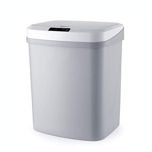 Bote De Basura con Sensor Automático De 16 litros con Sello De Olor, Bote De Basura Inteligente De Plástico, Tapa De Bote De Basura Sin Contacto, Baño De Lata,Gris