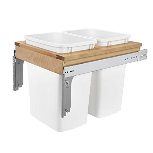 Rev-A-Shelf 4WCTM-21DM2-162 Double 35-Quart Top Mount Pullout Kitchen Waste Trash Container Bin for 1775 Inch Wide 163 Inch Faceframe Cabinet White