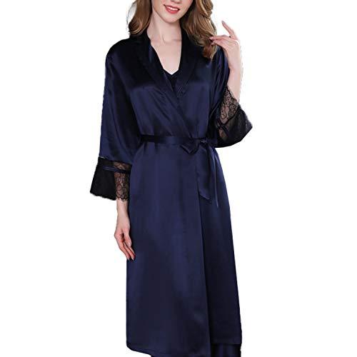 LZJDS Bata para Mujer Batas de Seda Bata de baño con Cuello en V para Mujer, Ropa de Dormir Suave, camisón, Pijama para Todas Las Estaciones,Dark Blue,XL