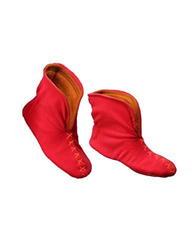 RAIKOU NEU Hausschuhe Damen Herren Hausschuhe Hüttenschuhe aus Micro Fleece mit Rutschfester Sohle, Unisex-Hausschuh Haussocken in schönen kontrastreichen Farben (37/40, Rot/Orange)