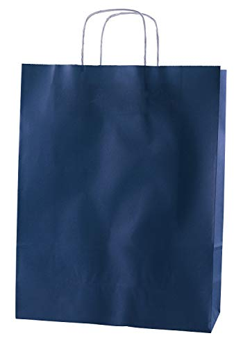 Thepaperbagstore 25 Papiertragetaschen, Recycelbar Und Wiederverwendbar, Mit Gedrehten Griffen, Blau – Groß 320x120x410mm