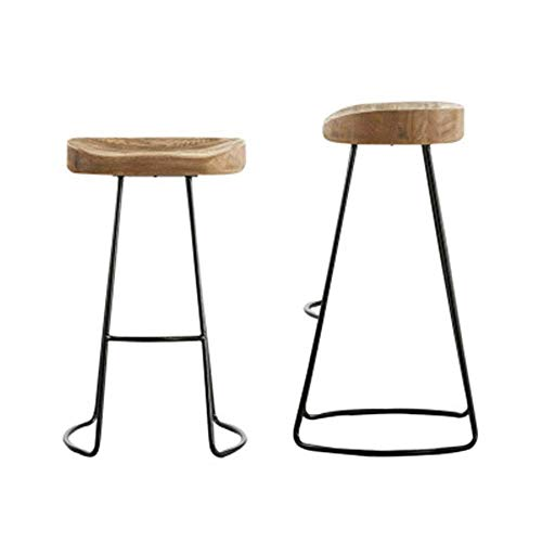 JKUNYU Sedia da pranzo Bar Stool metallo Sgabelli insieme di 2 Industrial Sgabello Alto Patio Dining Chair con sedile in legno for la prima colazione Bancone da cucina (Colore: Legno, Size: 39 * 40 *