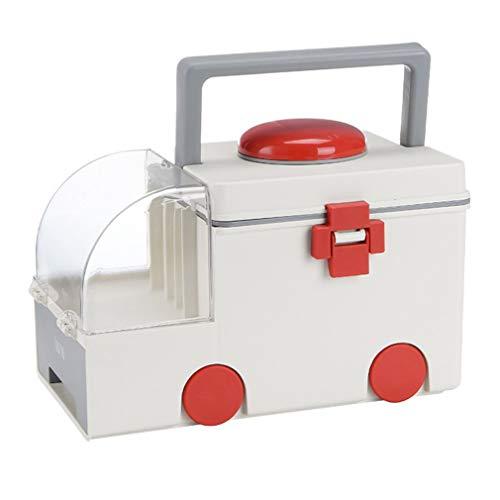 RHNE Medicina Caja de Almacenamiento de Primeros Auxilios en el hogar Caja médica portátil Ambulancia Grande Caja de Medicina al Aire Libre de Gran Capacidad Gris