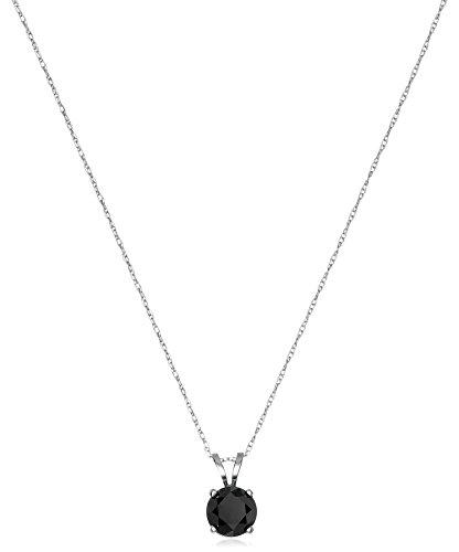 Hot Sale 1 cttw Black Diamond Solitaire Pendant 14k White Gold