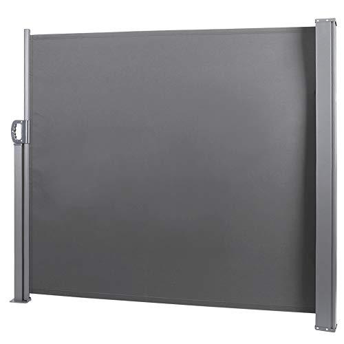 YCSD Seitenmarkise-140 X 300 cm Anthrazit TÜV,geprüft UV,Reißfestigkeit,seitlicher Sichtschutz Sichtschutz,für Balkon Terrasse Ausziehbare Markise