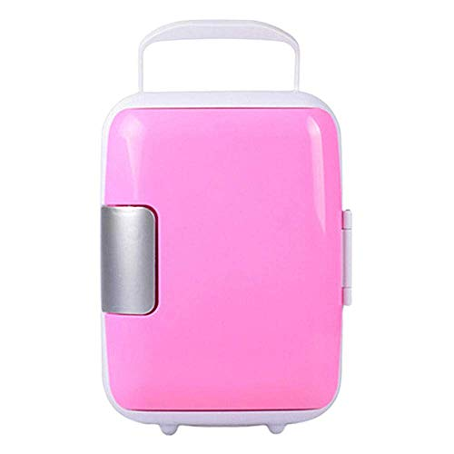 Peakfeng Mini Coche Refrigerador 4L Food Bebidas Doble Use Cooler Warmer Box Fridge Portable 12V Coche Refrigerador para Office Yacht Truck RV (Color : Pink)