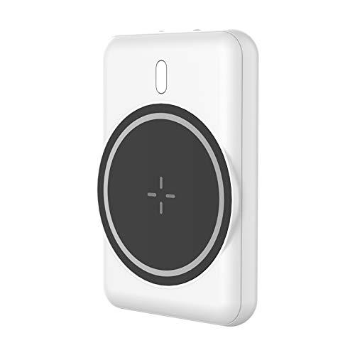Batería Externa Inalambrica, Cargador Portátil, Power Bank Wireless Magnético 5000mAh, Charger Inalámbrica Qi 5W Tipo C Compatible con Mag-Safe iPhone 12 Pro Max Mini (blanco)