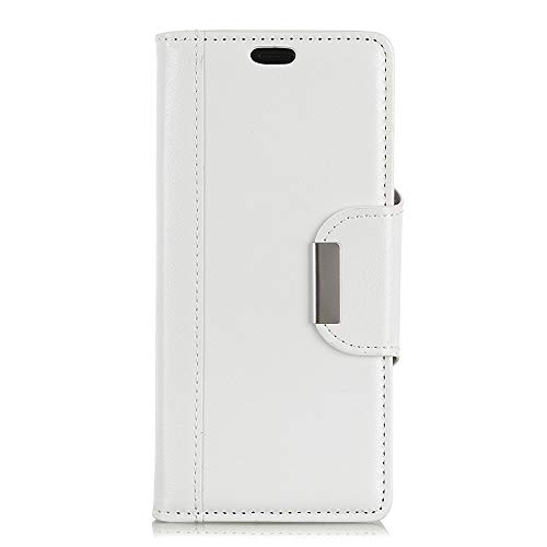 BRAND SET Hülle für HTC Desire 12S Brieftasche Handyhülle Kunstleder Flip Hülle mit sicherer Magnetverschlussverriegelung & Stent-Funktion,geeignet für HTC Desire 12S (Weiß)