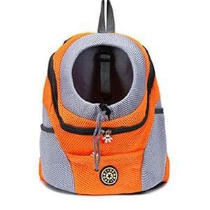 Out Double Shoulder Portable Travel Backpack Outdoor Pet Dog Carrier Bag Pet Dog Front Bag Mesh Backpack Head Cat Carrier (Color : Gold, Size : 36x45x21 cm)