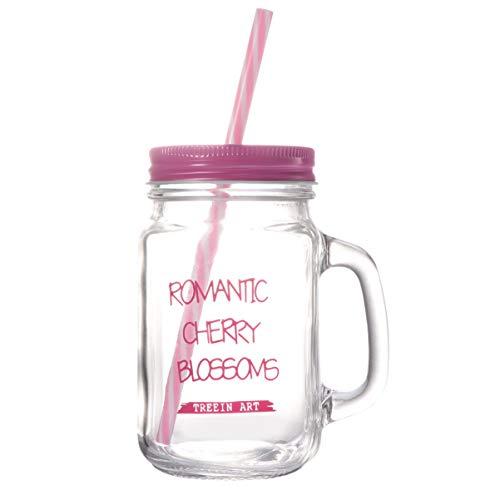 YARNOW Barattoli in Vetro da 500 Ml Bottiglie Bicchieri con Coperchio Manico E Cannuccia Barattolo Vintage Retro Terrazza da Giardino (Rosa)