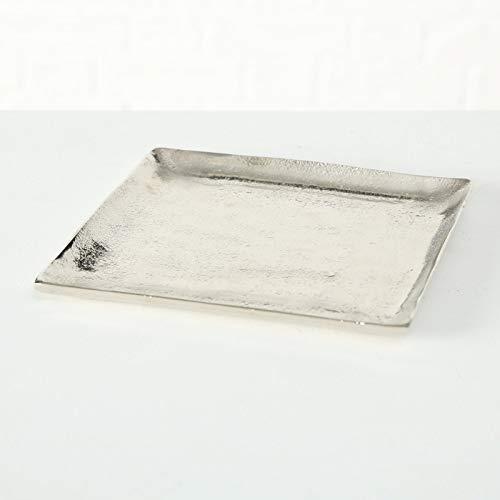 Dekoteller Silber Dekoschale Metall Teller Schale Alu Deko 20x20 o. 25x25 cm (20 x 20 cm)