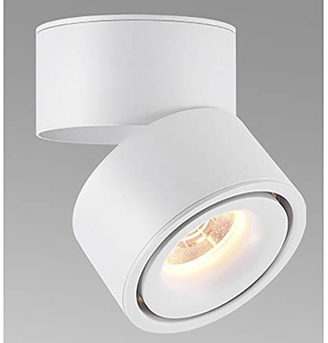 Feoguane 10W foco LED montado en superficie 360 ° foco de techo ajustable cocina sala de estar iluminación de tienda, blanco cálido (Blanco 3000K)