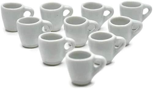 1shopforyou 10 tazas de café blanco taza de té tamaño grande casa de muñecas miniaturas juguetes y comida cocina de Handmade