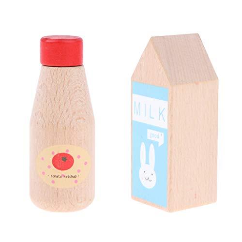 HomeDecTime Paquete de 2 Botellas de Madera para Condimentos, Juego de rol de Chef, Vajilla, Juguete para Niños