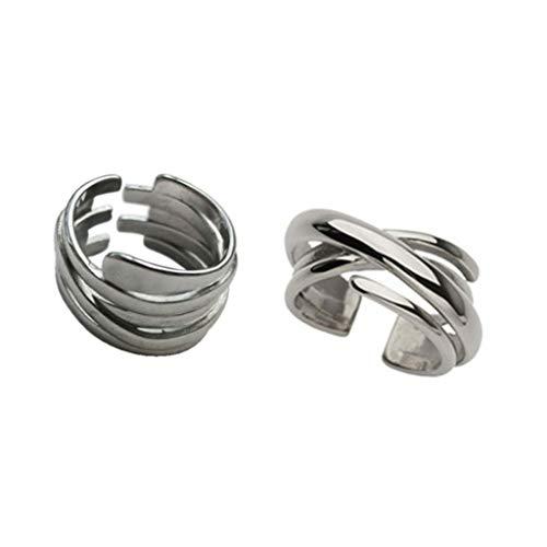 6Wcveuebuc 2 anillos de plata de múltiples capas entrelazadas con líneas irregulares, anillos de cruz para mujer, anillo de eternidad ajustable