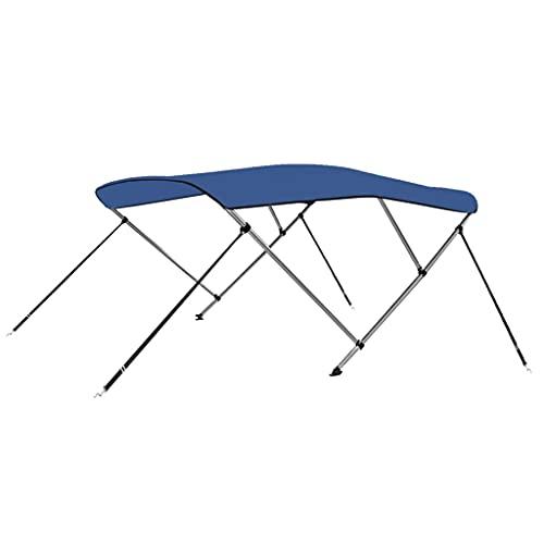 vidaXL Toldo Bimini de 3 Arcos para Barco Embarcación de Recreo Antimoho Correas de Nailon Ajustables Parasol de Lona Azul 183x180x137 cm