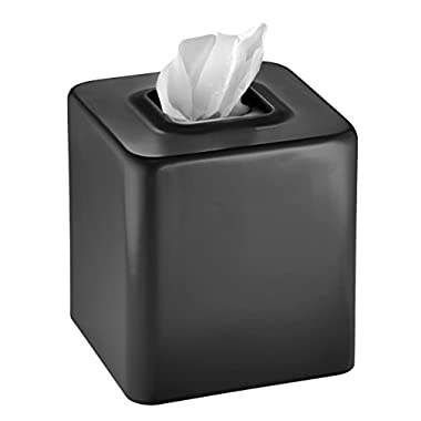 mDesign Square Paper Facial Tissue Box Cover Holder for Bathroom Vanity Countertops, Bedroom Dressers, Night Stands, Desks and Tables - Steel, Black