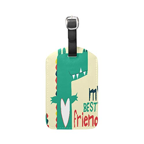 Best Friend Heart Green Dinosaur Luggage Baggage Suitcase Tags Leather ID Label for Travel(2pcs)