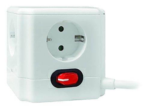 Garza Power - Base múltiple Cubo 4 tomas Schuko Interruptor