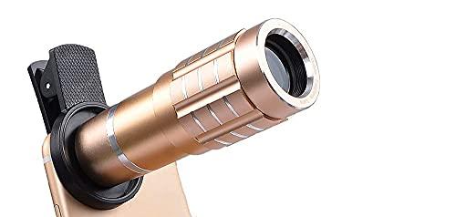 HUAXUE Telescopio Monocular Telescopio12X Teléfono, 12.5X Macro Shell de Aluminio aeroespacial Grueso, Anti-Shock y Anti-Shock, Vidrio óptico, Adecuado para Ver Juegos, conciertos y paisajes.