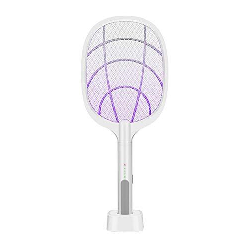 Fenteer Matamoscas Eléctrico Mosquito Zapper Raqueta de Murciélago Plagas Control de Insectos Asesino Repelente USB Recargable Tres Capas Protección de Malla