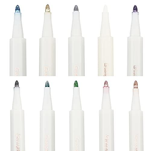 CRASPIRE Bolígrafos de Pintura Acrílica Metálica 10 Colores, Rotuladores Permanentes Metálicos de...