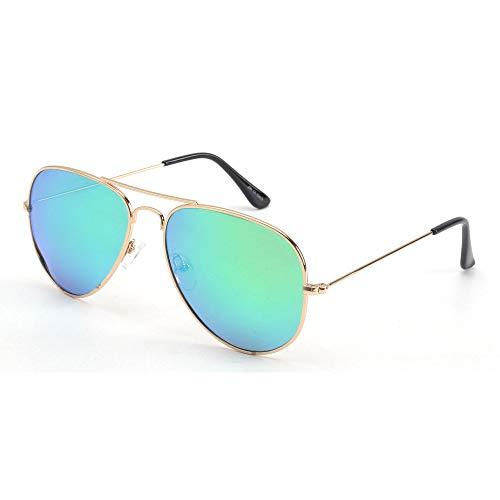 JM Gafas de sol piloto polarizadas retro hombres, mujeres, gafas de sol con montura de metal, protección UV 400 (montura dorada clara/lente de flash verde polarizada)
