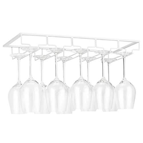 YunNasi Soportes para Copas de Vino de Metal Organizador Mantener los Vasos Secos Debajo del Gabinete con Tornillos para Bar Restaurante Cocina (5 Filas, Blanco)