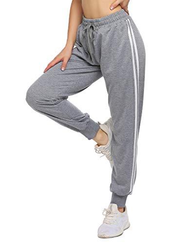 ADOME Pantalones Deportivos Mujer Chándal Pantalones de Entrenamiento Casuales Ropa Deportiva Pantalones Largos Pantalones de Deporte Yoga Fitness Jogger Pantalones de Punto Gris M