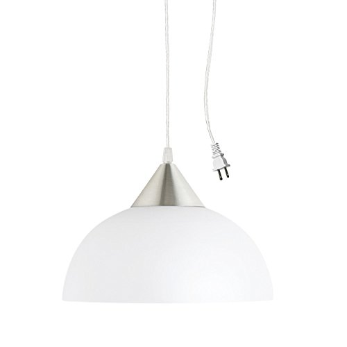 Globe Electric Amaris 1-Light Plug-In Pendant, Brushed Steel Finish, Frosted White Shade, 15ft Clear Cord, In-Line On/Off Switch 64413, 8.5'