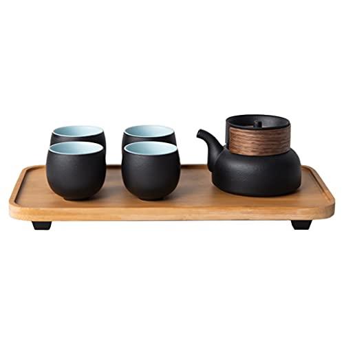 IPOUJ Establecimiento de té de Viaje Estuche de Almacenamiento, una Olla de Cuatro Tazas, Coche de Viaje portátil al Aire Libre Copa de pasajeros rápida de cerámica Negra