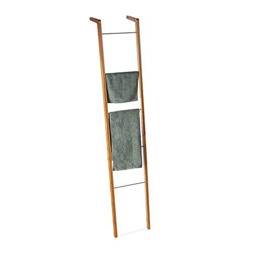 Relaxdays Porte-Serviettes Bambou, Échelle escalier sur Pied, 5 Barres torchons vêtements, HxlxP 180 x 35 x 20cm, Nature, Acier, Naturel, 180 x 35 x 20 cm
