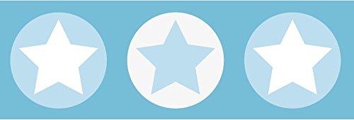 lovely label Bordüre selbstklebend Sterne GRAU/BLAU - Wandbordüre Kinderzimmer/Babyzimmer mit Sternen - Wandtattoo Schlafzimmer Mädchen &...