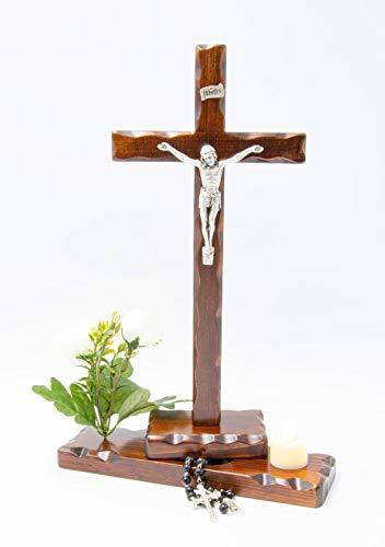Crucifijo de mesa de madera – Incluye rosario – Flores – Vela...