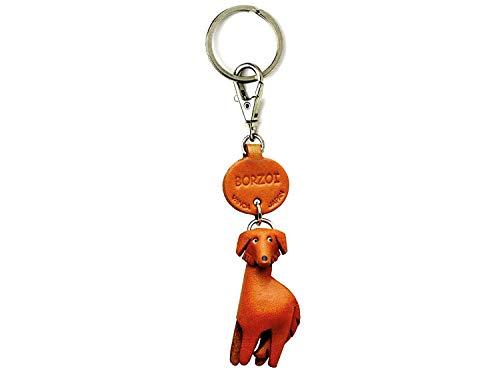 Borzoi Schlüsselanhänger aus Leder, klein, Vanca Craft Sammlerstück, hergestellt in Japan