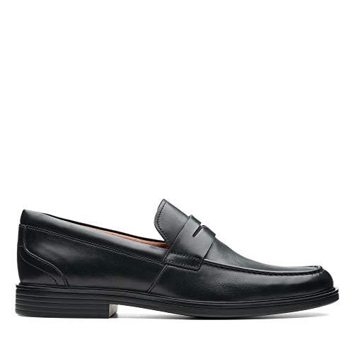 Clarks Un Aldric Step, Mocasines para Hombre, Negro (Black Leather-), 41 EU