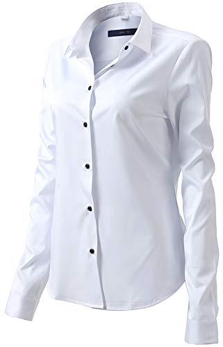 Damen Bluse aus Bambusfaser Elastisch Slim Fit Hemd für Freizeit Business Figurbetonte Hemdbluse Langarm Elegant Shirt Bügelfrei Weiß 42/16