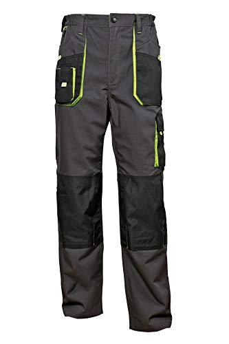 Stenso Emerton - Pantaloni da Lavoro multitasca Extra Resistenti - Uomo - Stile Cargo - Grigio/Nero/Verde - 56