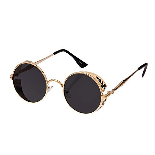 Female or male sunglasses these are our fantastic steampunk round sun glasses, which are made with strong metal frames and have UV400 polycarbonate lenses and spring hinges for a more comfortable fit Each pair has detailed engraving on the sides of t...