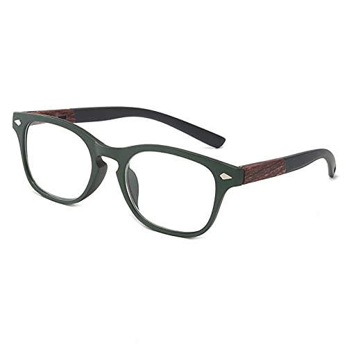 TRGCJGH Gafas De Lectura Montura Grande Moda Unisex Gafas De Lectura De Visión para Lectores De Moda para Mujeres Y Hombres,Green-2.0X