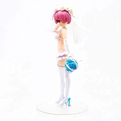 HYKCSS Anime Doll Ram Traje de baño Agua Vestido de Novia Versión Estatua Muñeca Escultura Juguete Decoración Modelo Hecho a Mano Alto 24 CM