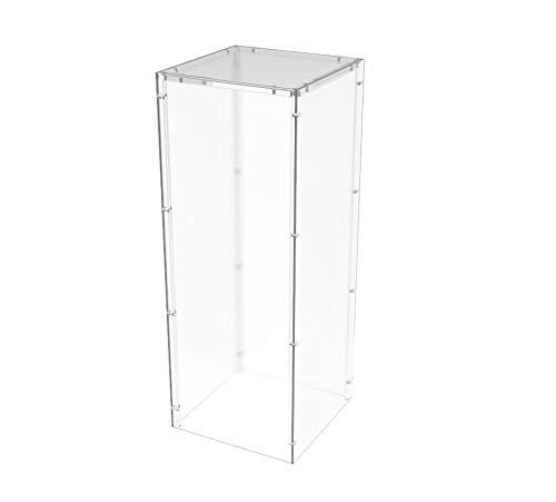 FixtureDisplays 5-Sided 11.5x11.5x30 Clear Pedestal Acrylic Box Plexiglass Raffle Ticket Box Lucite Pedestal Dump Bin, Donation Bin New Knock Down Design 100852NEW-NF