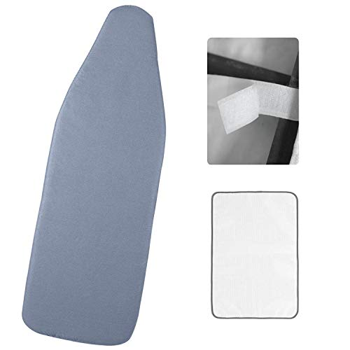 Refrze Wide Ironing Board Cover and Pad 18x49in Fits Large Ironing Board Reflective Silicone Ironing Board Cover with Straps Elastic Edge Thick Padding Scorch and Stain ResistantBlue