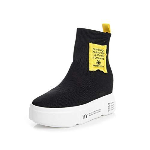 Exing Womens's Shoes 2018 Autunno Inverno Nuove Scarpe da Donna Casual Super High Heel Socks Scarpe Sneakers con Tacco Elastico in Maglia con Zeppa